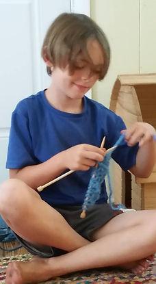 knitting Waldorf boy