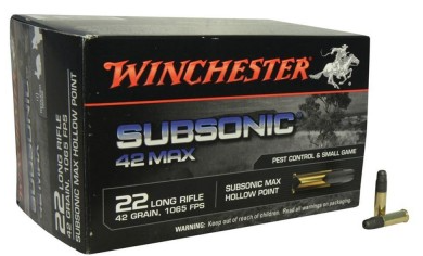 Winchester Subsonic 22LR 42Grn HP Ammunition (50 PACK)