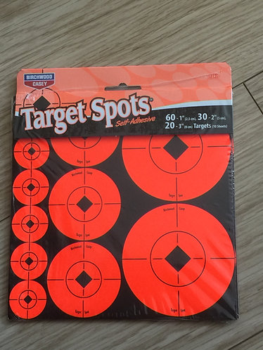 10 PACK TARGET SPOT SELF ADHESIVE MIXTURE 1 & 2 & 3 INCH TARGETS