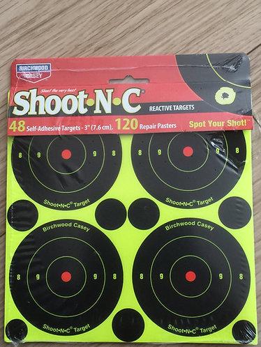 5 PACK SHOOT N C REACTIVE TARGET SELF ADHESIVE 3 INCH TARGET & REPAIR PLASTERS
