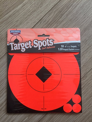 Target Spots By Birchwood casey. Self adhesive targets 6 INCH PACK OF 10 SHEET