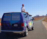 Sitting ona van, the road to Monument Valle, Escape Campervans, Utah