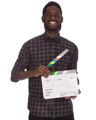 Young African happy man holding clapperb