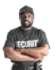 Male security guard on white background.