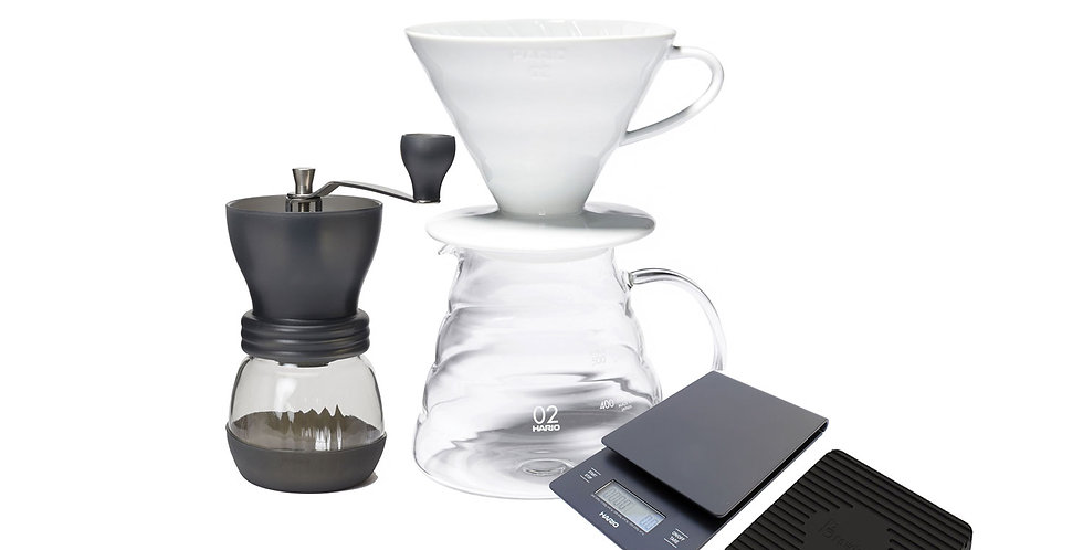 Pour Over Kit B With The Hario V60, Hario Scales & Coffee Grinder