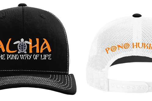 Pono Hukilau Aloha Hat Black White
