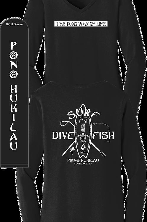 Pono Hukilau Long Sleeve Women's V-neck Surf