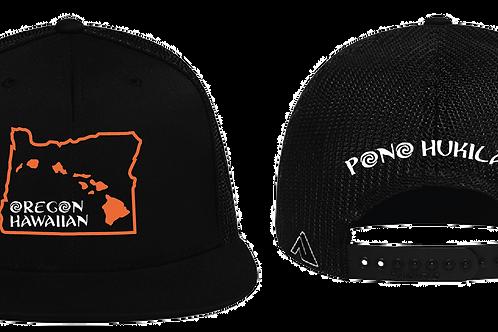 Pono Hukilau Hat Oregon Hawaiian Black Flat Bill