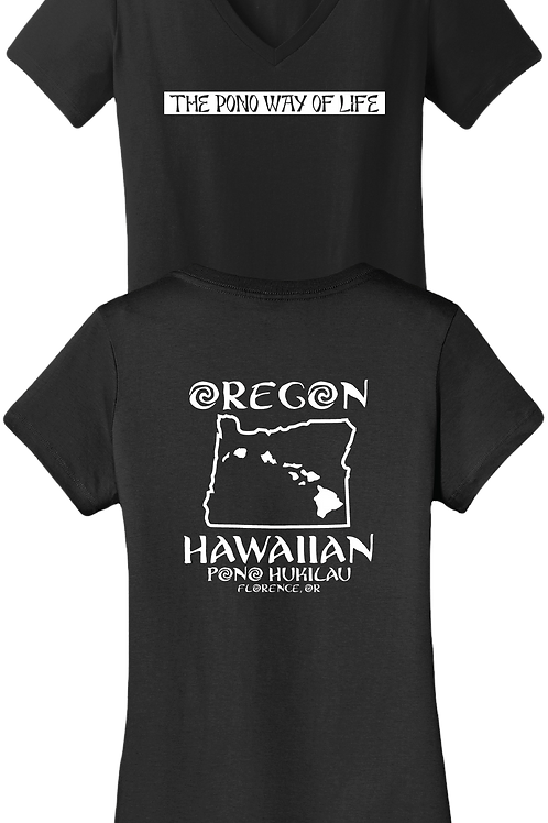 Pono Hukilau Oregon Hawaiian Women's V-neck T-Shirt
