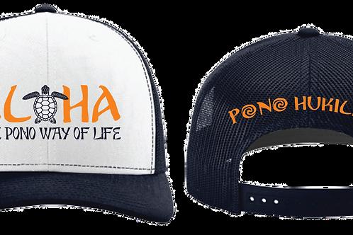 Pono Hukilau Aloha Hat Navy and White