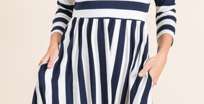 Striped Dress with Pockets (Wine Color)