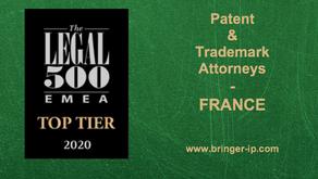 """BRINGER IP dans le """"Tier 1"""" des meilleurs cabinets français en 2020"""