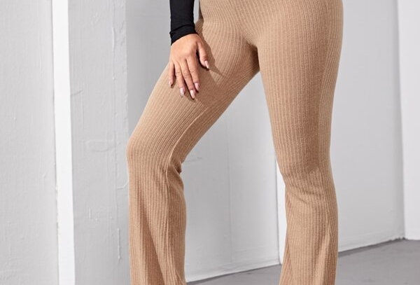 Flare Rib-Knit Trousers