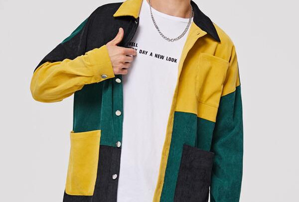 """COLOUR BLOCK"" Corduroy jacket"