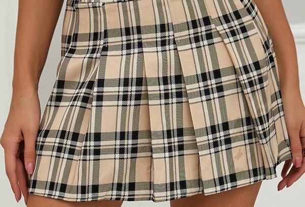 """""""PLAID"""" Print Pleated Skirt"""