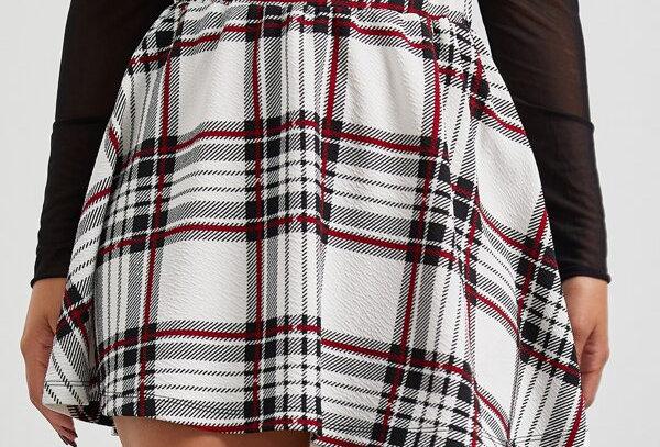 """PLAID"" High Waisted Skirt"