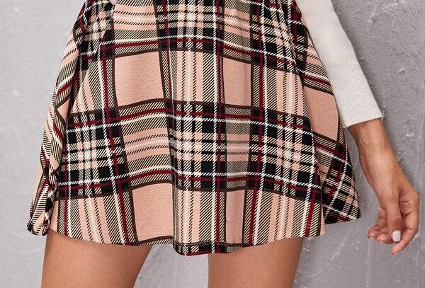 Plaid Flare Hem Mini Skirt
