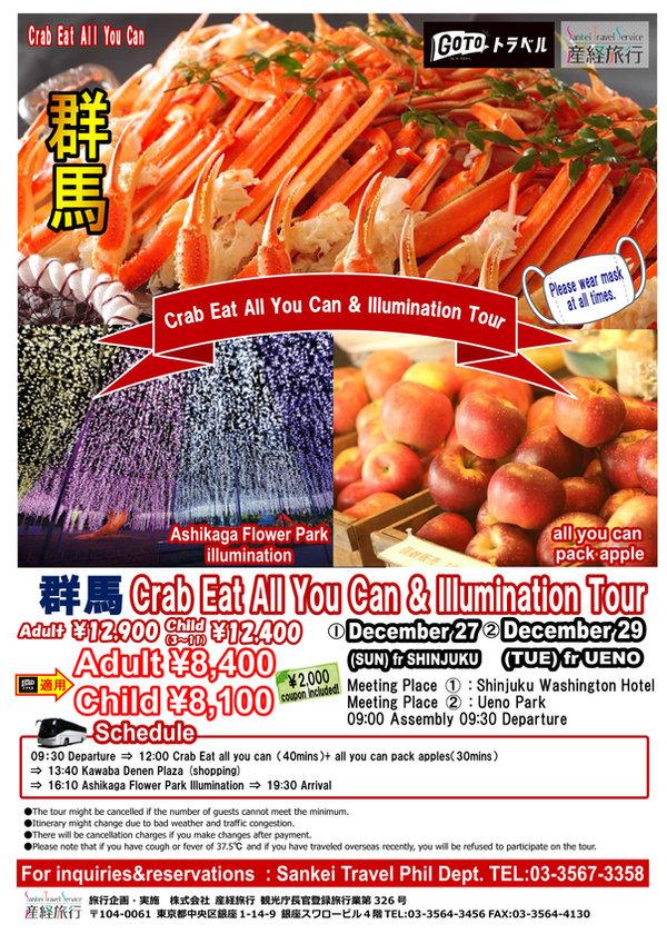 201227 SK09AF あしかがフラワーパークイルミ+カニ+りんご詰め放題P