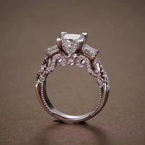 Engraved Diamond Ring