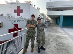 Snake Blocker with Shipmate Stationed on the USNS Mercy Navy Hospital Ship, San Pedro, California