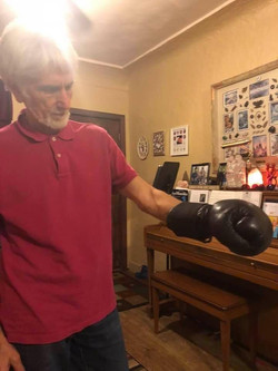Jean-Pierre Julemont with Rare Vintage Savate Glove at Snake Blocker's Home