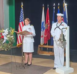Snake Blocker, Bell Toller at 2021 Denver Memorial Day Service for Gold Star Families