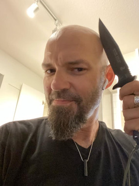 Devin Shea with his Apache Falcon Knife by Snake Blocker (Tops Knives, Made in the USA)