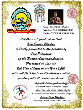 2006 Appointed Vice-President of the United States Muay Thai Associaion (USMTA) - Native American League (NAL)