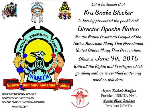 United States Muay Thai Association (USMTA) - Native American League (NAL) - Director Apache Nation