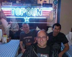 Snake Blocker & Shipmates at Restaurant Filmed in Top Gun