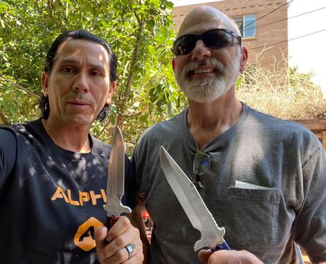 Snake Blocker and Steve Rollert, Keen Edge Knives owner. Steve produces the Apache Falcon training knife by Snake Blocker.