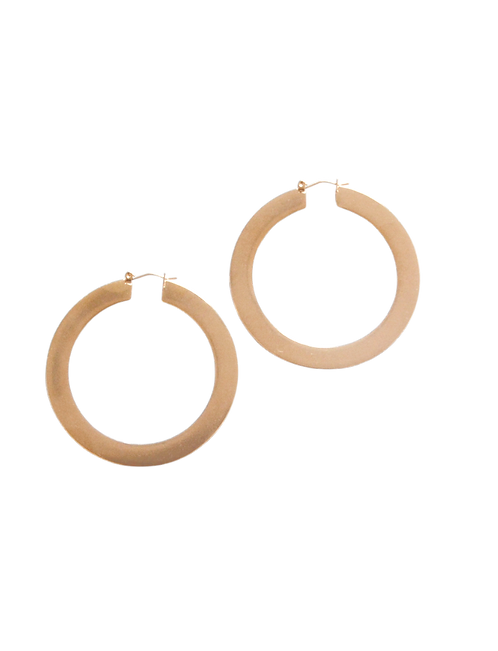 Gold Matte Large Hoop Earrings