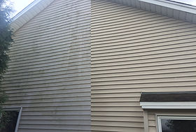 Dirty siding get soft washed, now looks new