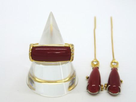 垂水塩谷のI様から珊瑚の指輪,ピアス,金,血赤サンゴ,ダイヤモンド,リングを買い取り