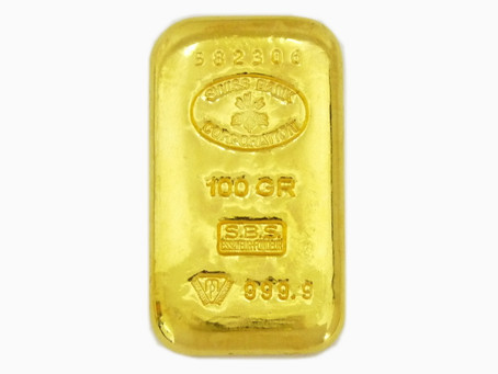 須磨のU様から金,インゴット,100グラム,SWISSBANK,999.9を買い取り