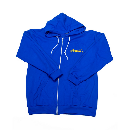 """SODA """"Classic"""" Zip Hoodie - Royal/Gold (Embroidered)"""