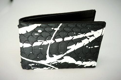 Black python leather half wallet