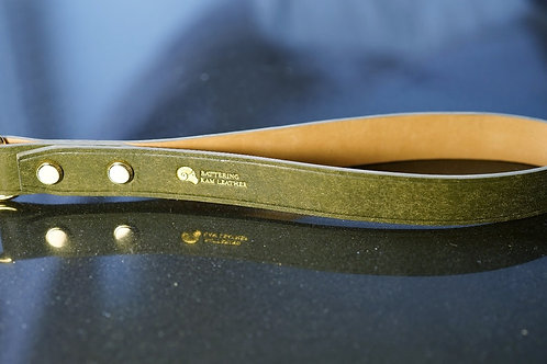 Olive Green leather handle with chain leash