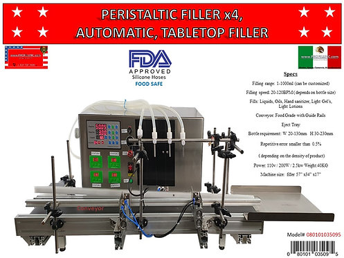 Peristaltic Filler 4x1000 Automatic Table Top  #080101035095