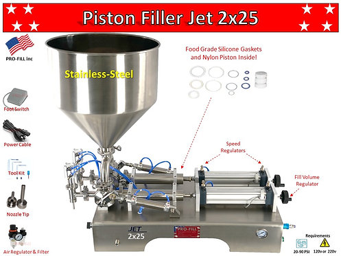 Jet Models Double Head (Air & Electric) Piston Filler/ Filling Machine