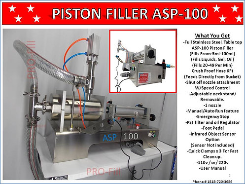 ASP Models Single Head Filling Machines (Air & Electric & Air Only)