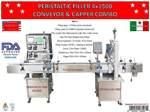 Peristaltic Filler 4x1500 Conveyor & Capper Combo #35071