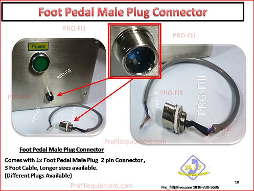 Foot Pedal Male Plug Connector