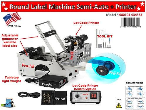 Round Label Machine Semi-Auto #080101034333 (LAST ONE IN STOCK)