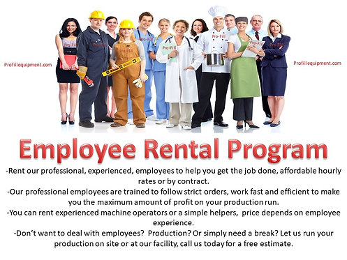 Employee rental & service call rates