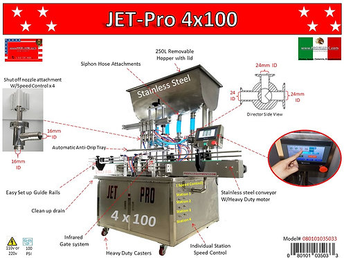 JET-PRO's  4 Head Piston Fillers Automatic