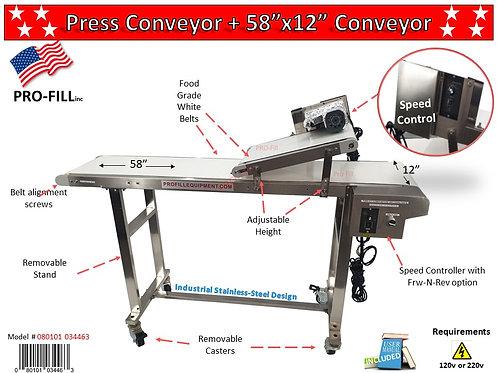 """Press Conveyor 58"""" x 12"""" #080101034463   Press Conveyor 120"""" x 12"""" #080101034470"""