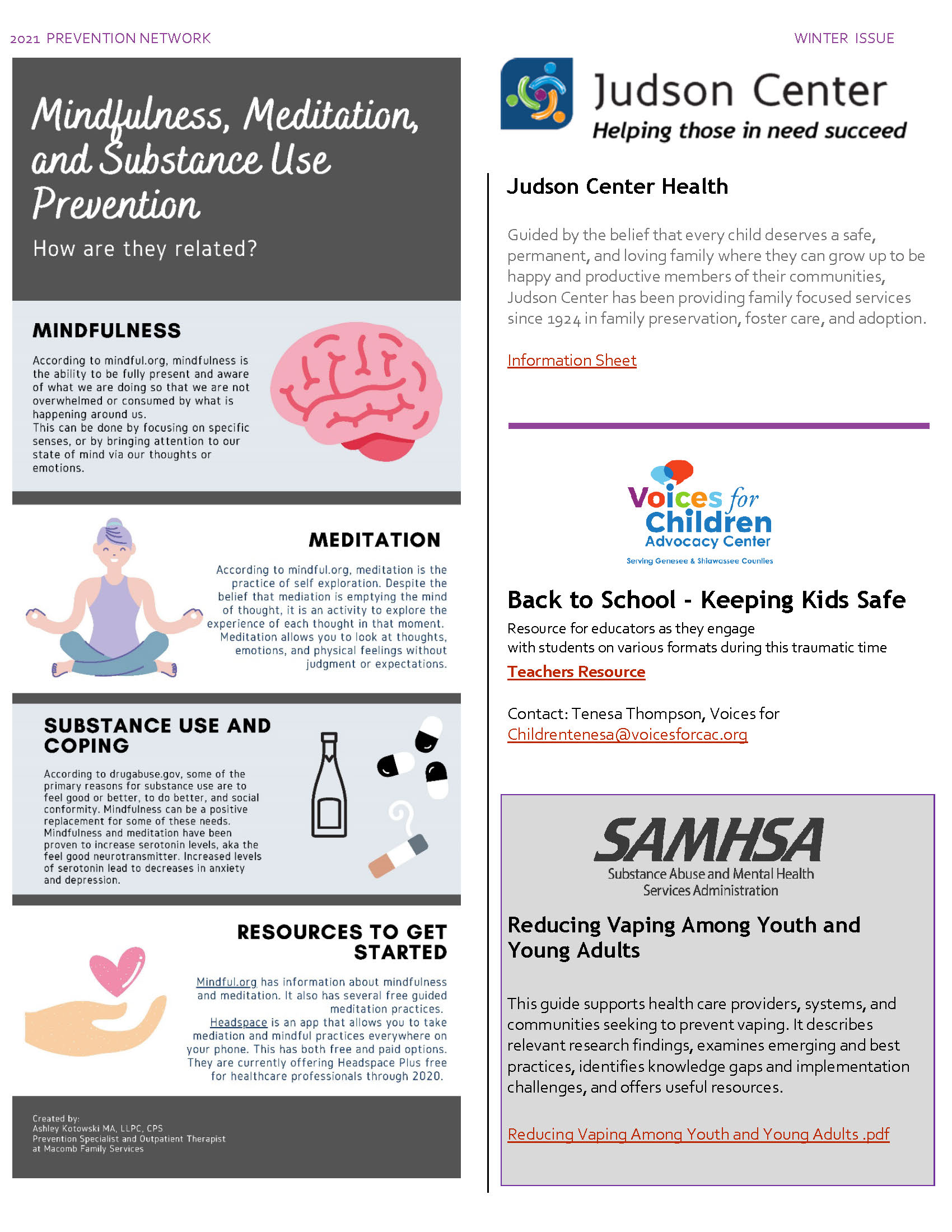 Mindfulness, Judson Center, Voices for Children Advocacy Center, and Reduce Vaping Among Youth
