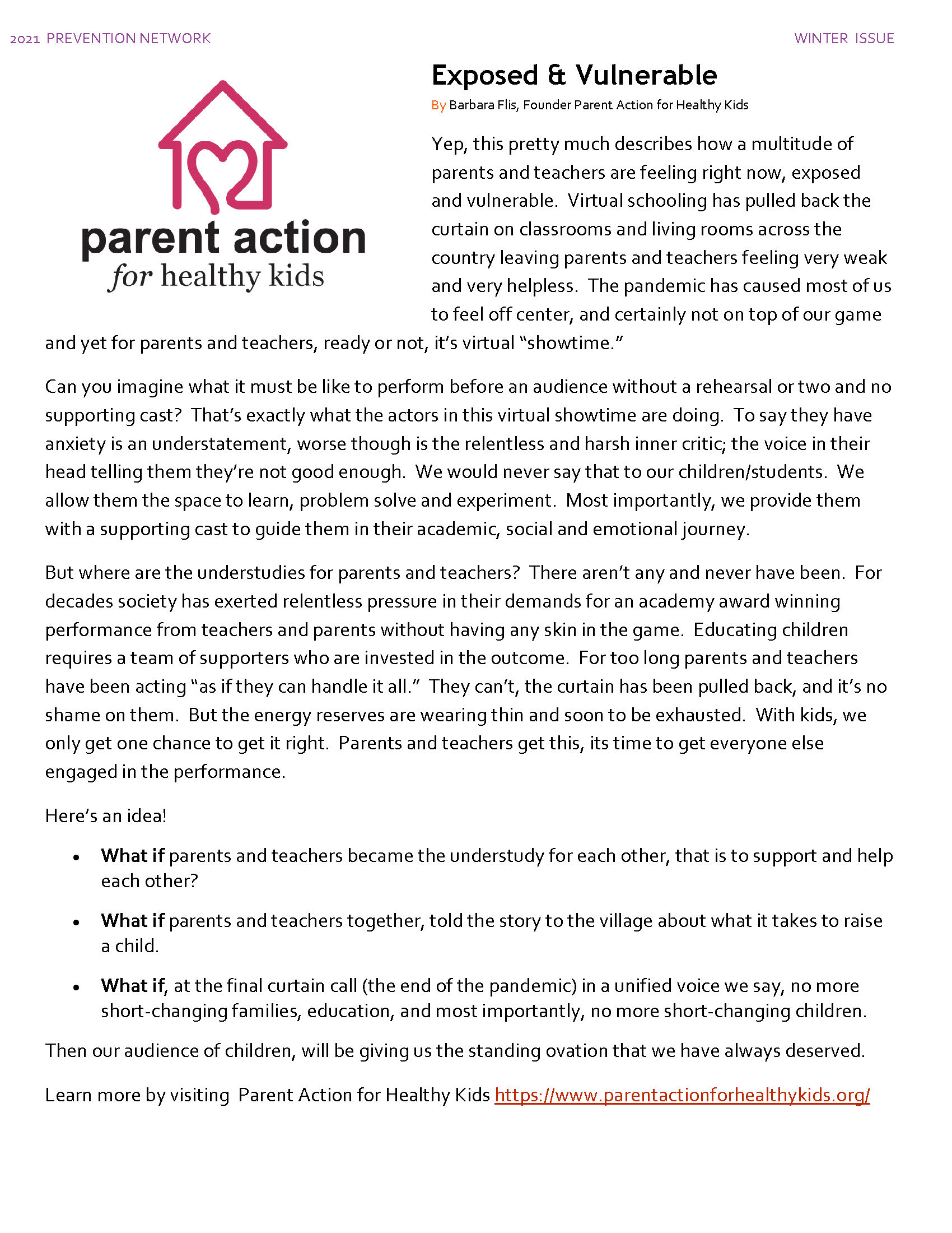 Parent Action for Healthy Kids Article