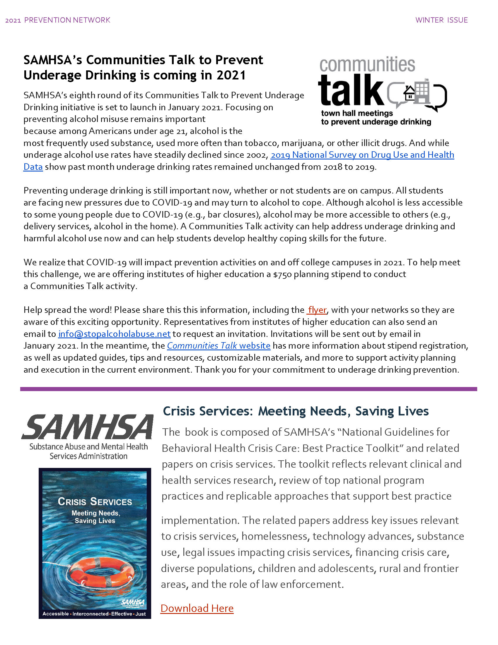 SAMHSA's Community Talk and Criss Services: Meeting Needs, Saving Lives